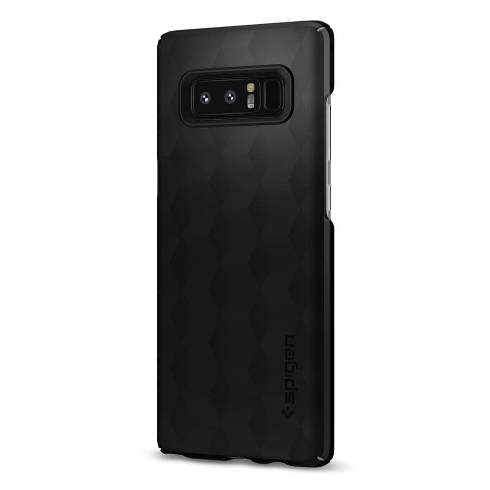 Thin Fit	Matte Black	Case	facing backwards showing the back design with the camera cutout on the	Galaxy Note 8	device.