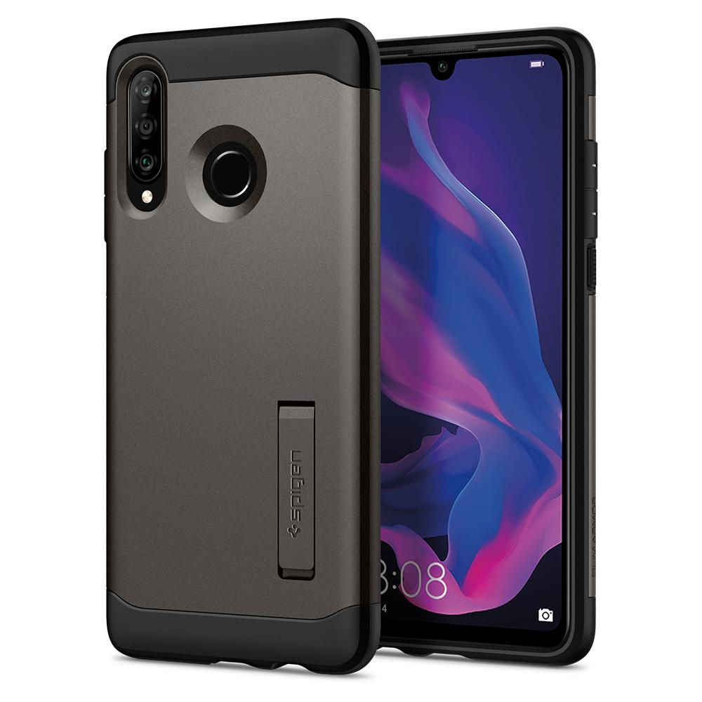 Slim Armor	Gunmetal	Case	back design and a front view of the edge around the	Spigen HUAWEI P30 lite/nova 4e	device.