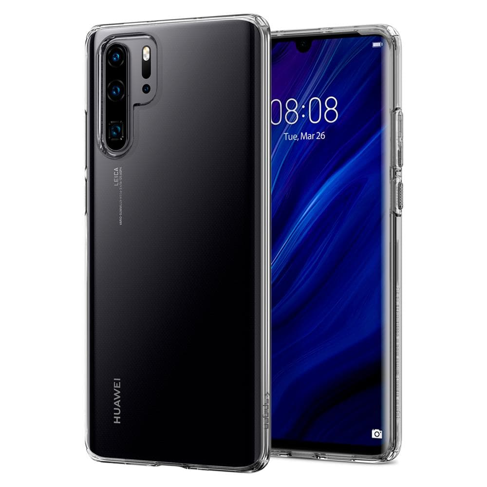 Liquid Crystal	Crystal Clear	Case	back design and a front view of the edge around the	HUAWEI P30 Pro	device.