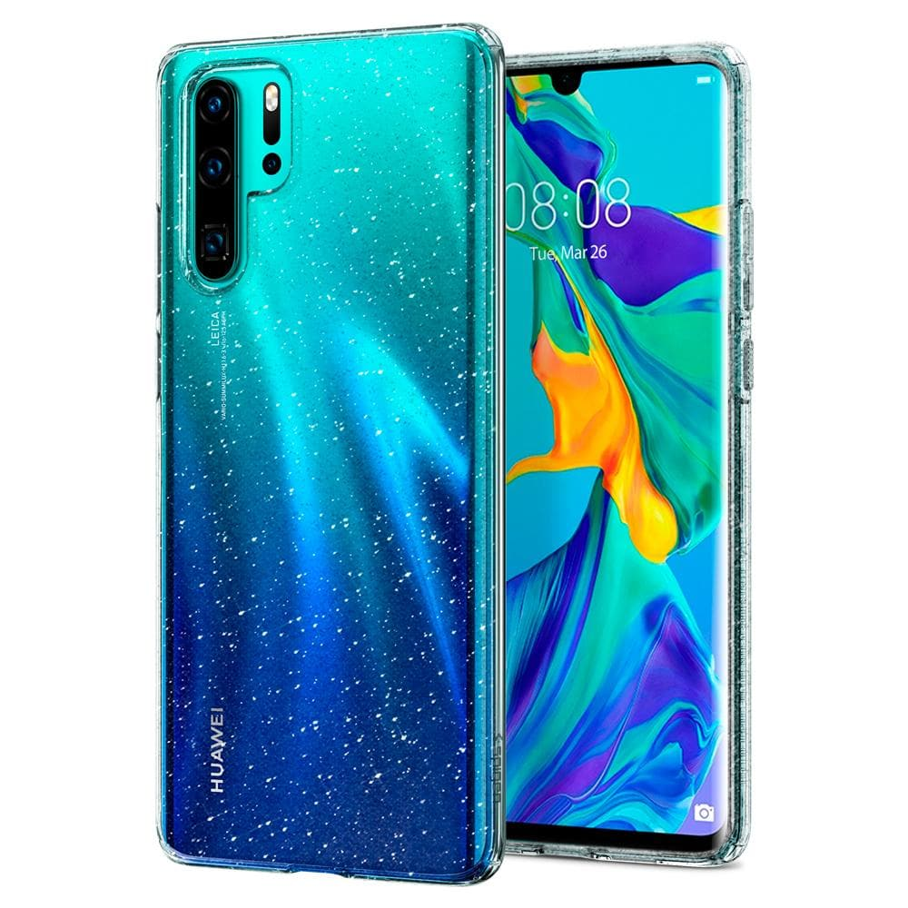 Liquid Crystal Glitter	Crystal Quartz	Case	back design and a front view of the edge around the	HUAWEI P30 Pro	device.