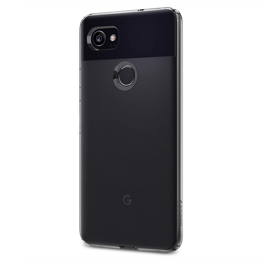 Liquid Crystal	Crystal Clear	Case	facing backwards showing the back design with the camera cutout on the	Pixel 2 XL	device.