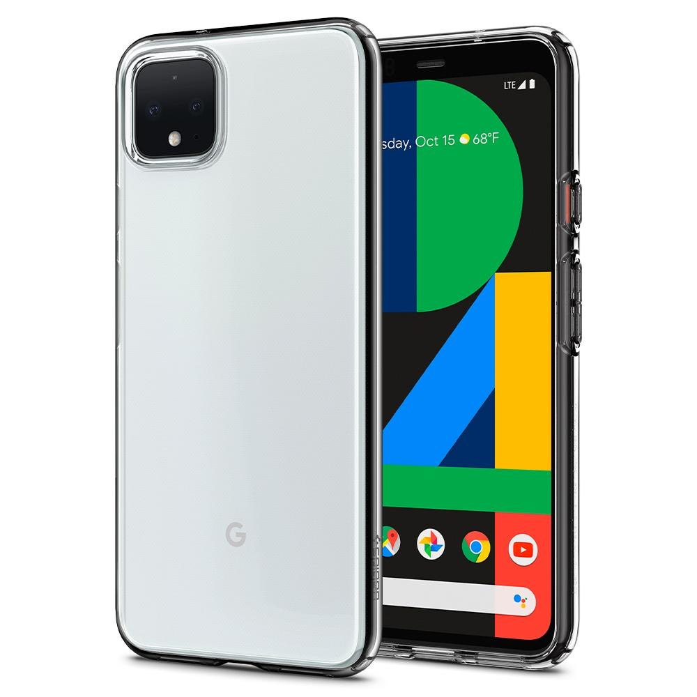 Liquid Crystal	Crystal Clear	Case	back design and a front view of the edge around the	Pixel 4	device.