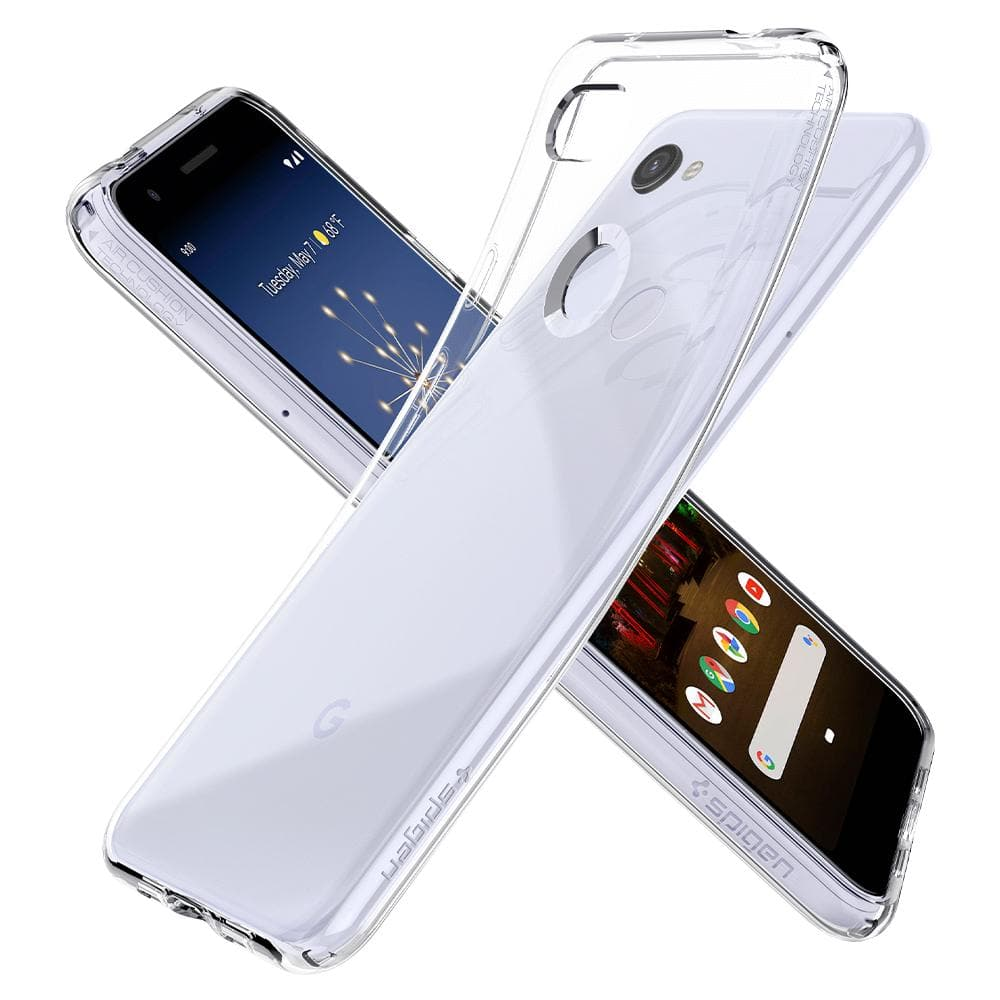 Liquid Crystal	Crystal Clear	Case	back design overlapping the front view of the	Pixel 3a	device.