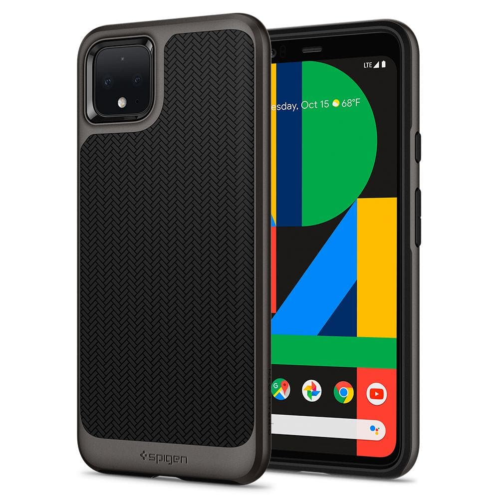 Neo Hybrid	Gunmetal	Case	back design and a front view of the edge around the	Pixel 4	device.