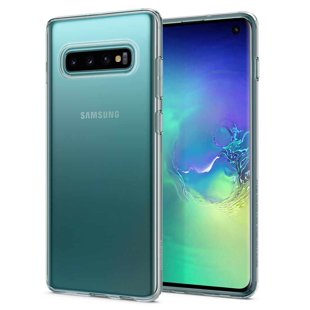 Liquid Crystal	Crystal Clear	Case	back design and a front view of the edge around the	Galaxy S10	device.