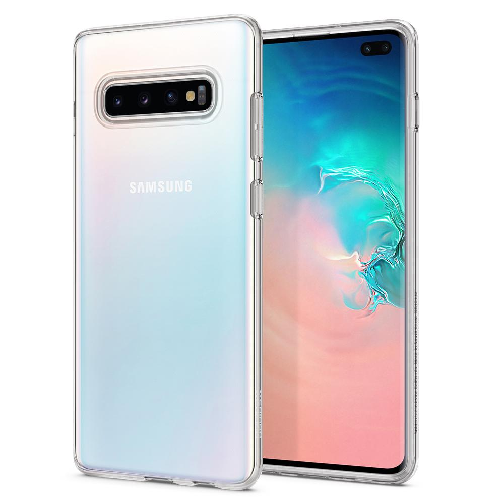 Liquid Crystal	Crystal Clear	Case	back design and a front view of the edge around the	Galaxy S10+	device.