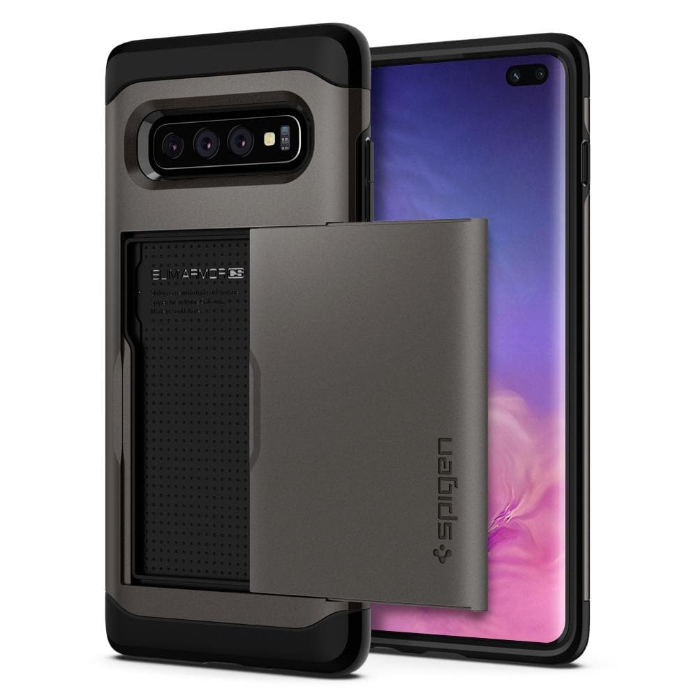 Slim Armor CS	Gunmetal Case	back design and a front view of the edge around the	Galaxy S10+	device.