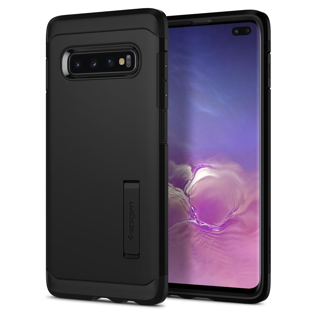 Tough Armor	Black Case	back design and a front view of the edge around the	Galaxy S10+	device.