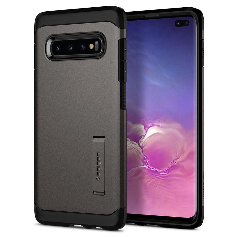Tough Armor	Gunmetal	Case	back design and a front view of the edge around the	Galaxy S10+	device.