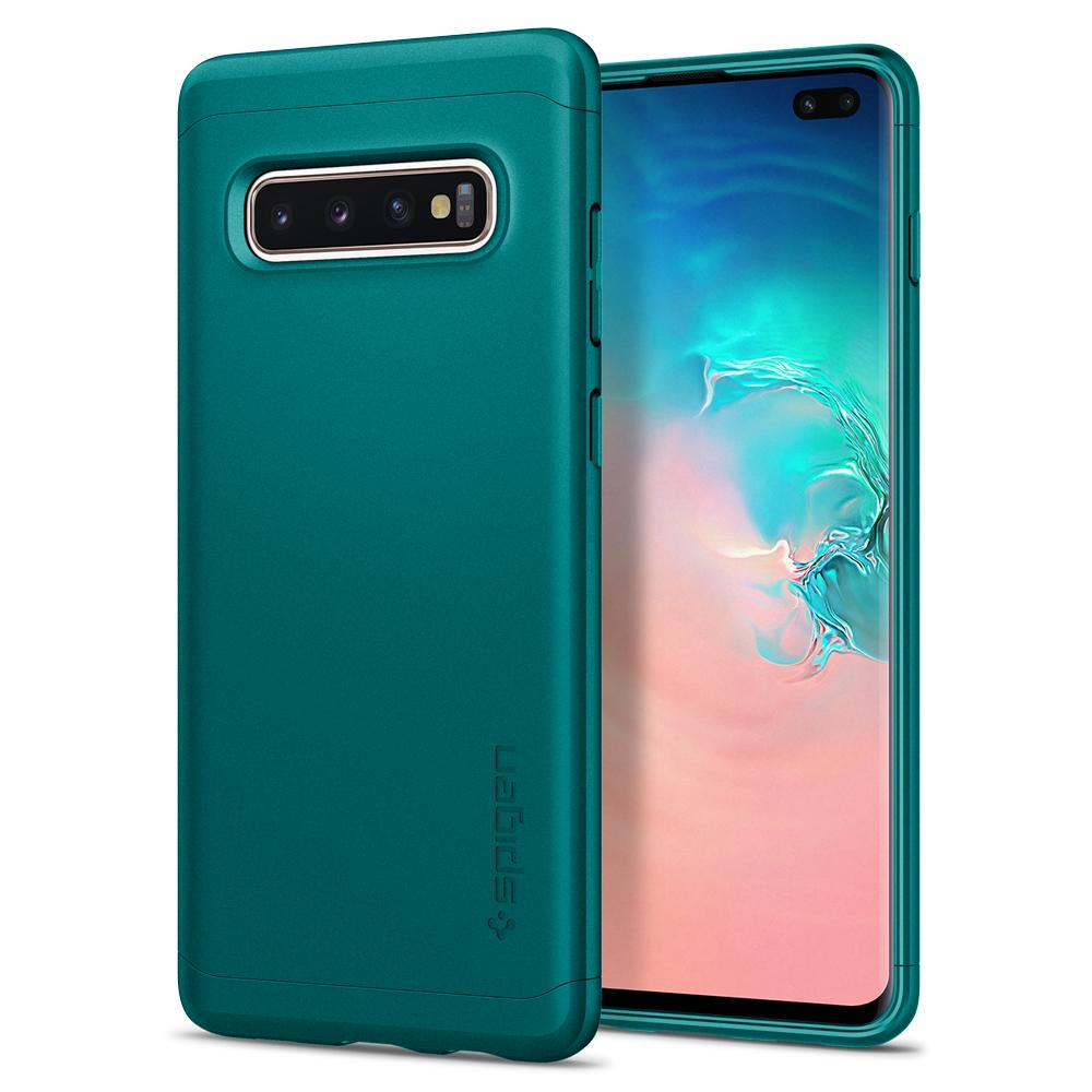 Thin Fit Classic	Green Case	back design and a front view of the edge around the	Galaxy S10+	device.