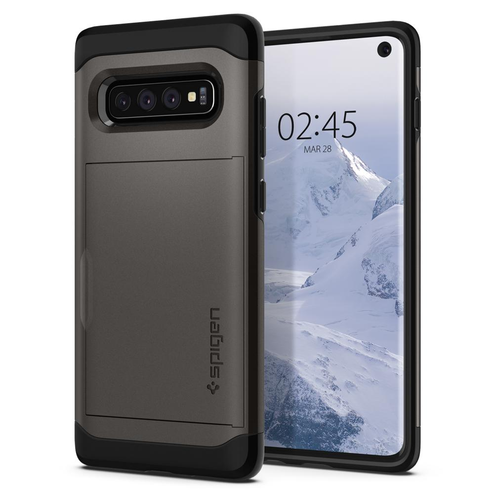 Slim Armor CS	Gunmetal	Case	back design and a front view of the edge around the	Galaxy S10	device.
