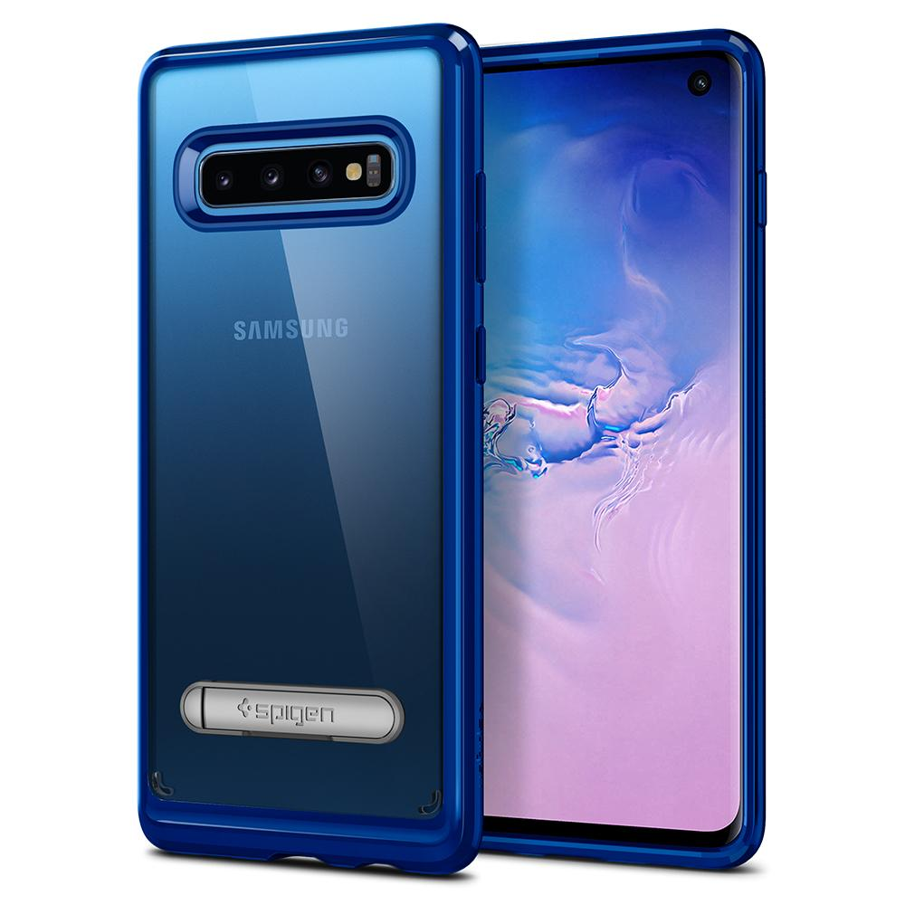 Ultra Hybrid S	Prism Blue	Case	back design and a front view of the edge around the	Galaxy S10	device.