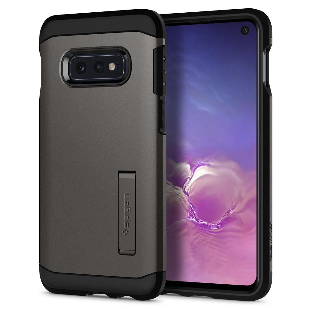 Tough Armor	Gunmetal	Case	back design and a front view of the edge around the	Galaxy S10e	device.