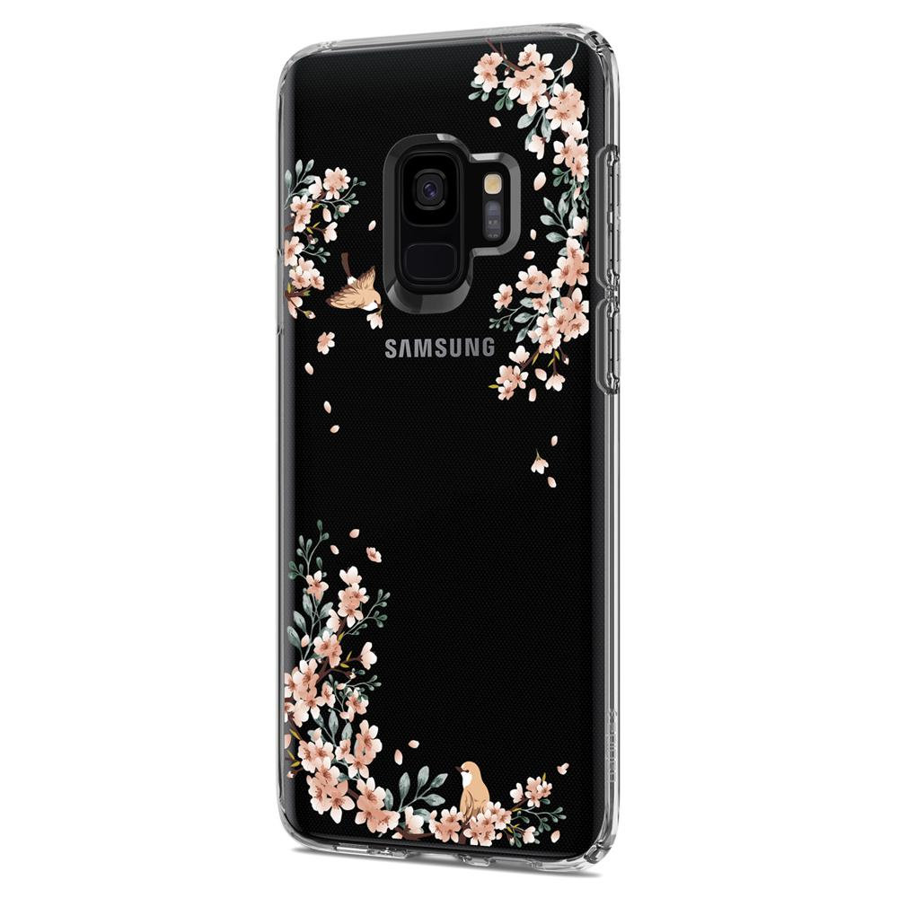 Liquid Crystal Blossom	Nature	Case	facing backwards showing the back design with the camera cutout on the	Galaxy S9	device.