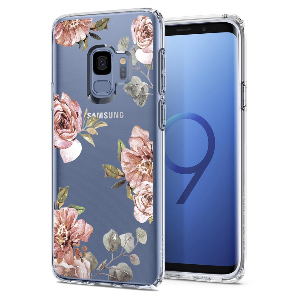 Liquid Crystal Blossom	Flower	Case	back design and a front view of the edge around the	Galaxy S9	device.