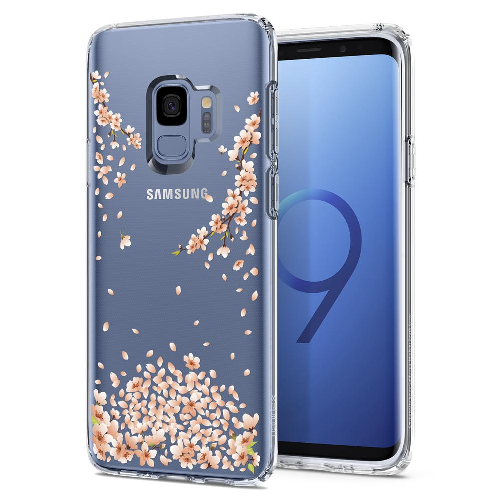 Liquid Crystal Blossom	Crystal Clear	Case	back design and a front view of the edge around the	Galaxy S9	device.