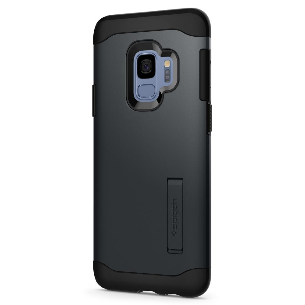 Slim Armor	Metal Slate	Case	facing backwards showing the back design with the camera cutout on the	Galaxy S9	device.