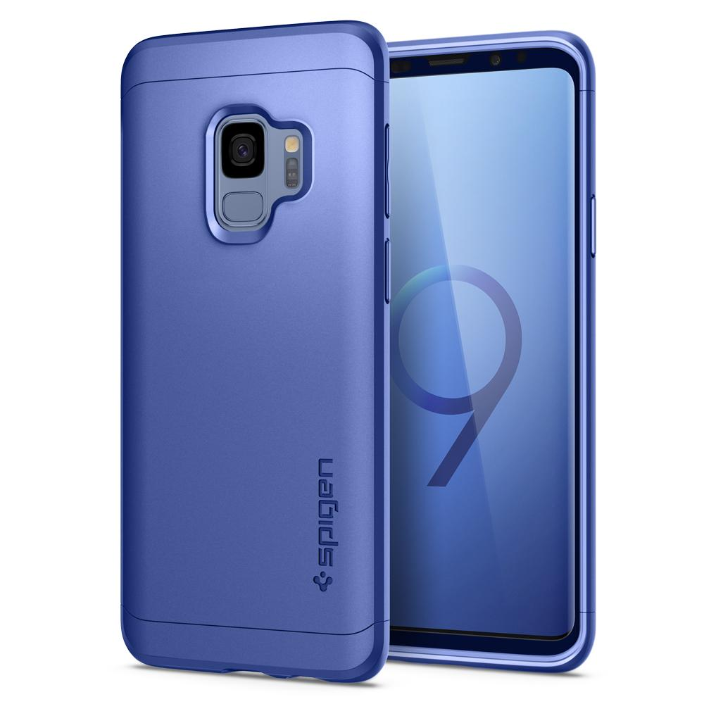 Thin Fit 360	Coral Blue	Case	back design and a front view of the edge around the	Galaxy S9	device.