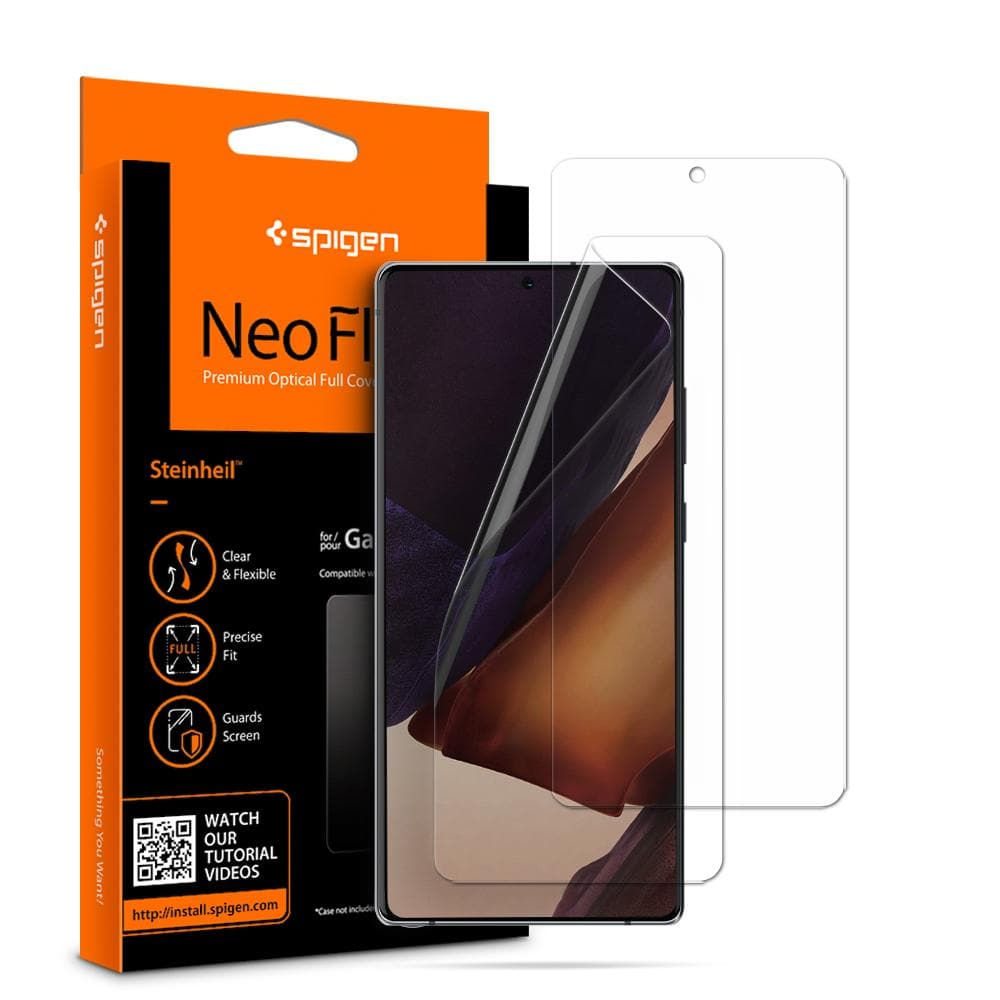 Galaxy Note 20 Screen Protector Neo Flex showing the packaging, device, and screen protectors displayed in front