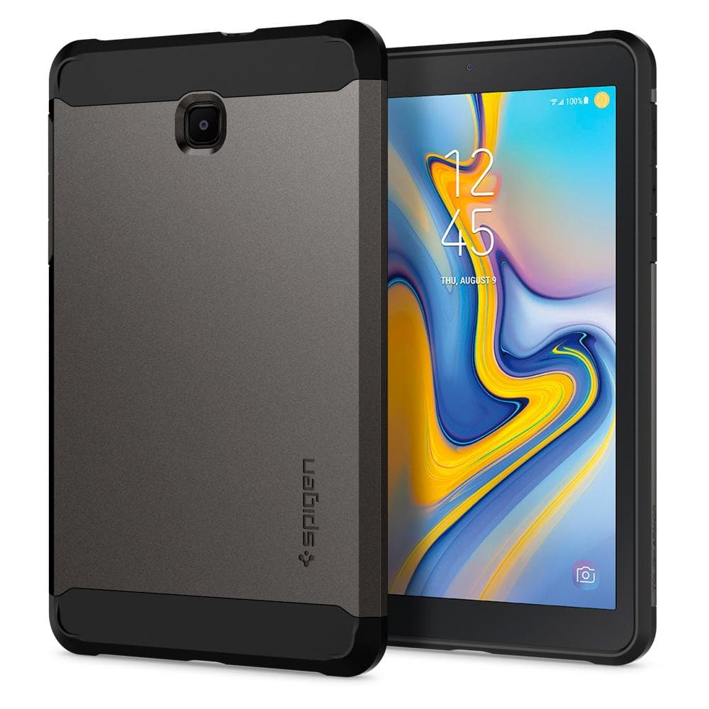 Tough Armor	Gunmetal	Case	back design and a front view of the edge around the	Galaxy Tab A 8.0 (2018)	device.