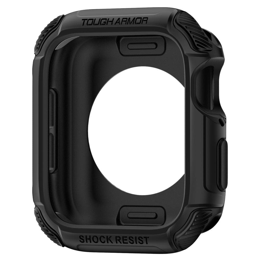 Apple Watch Series SE / 6 / 5 / 4 (44mm) Case Tough Armor in black showing the front and inside