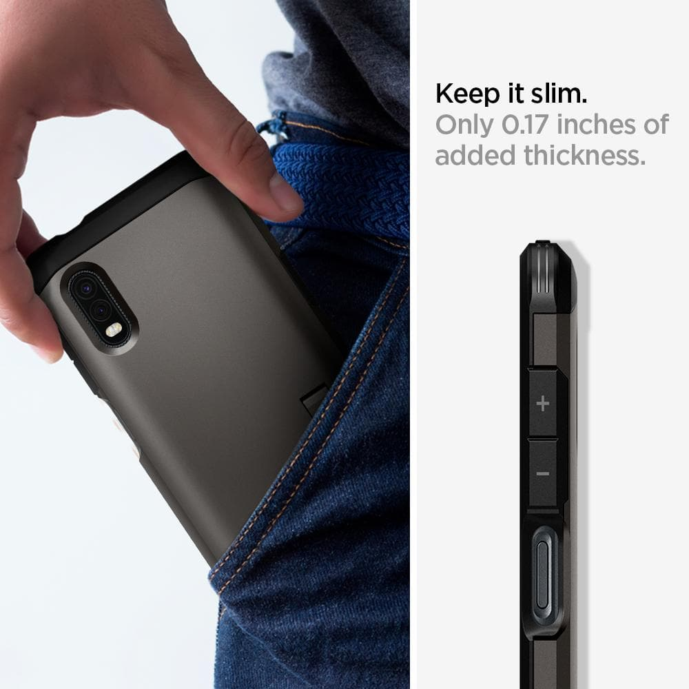Galaxy XCover Pro Case Tough Armor show to keep it slim. Only 0.17 inches of added thickness