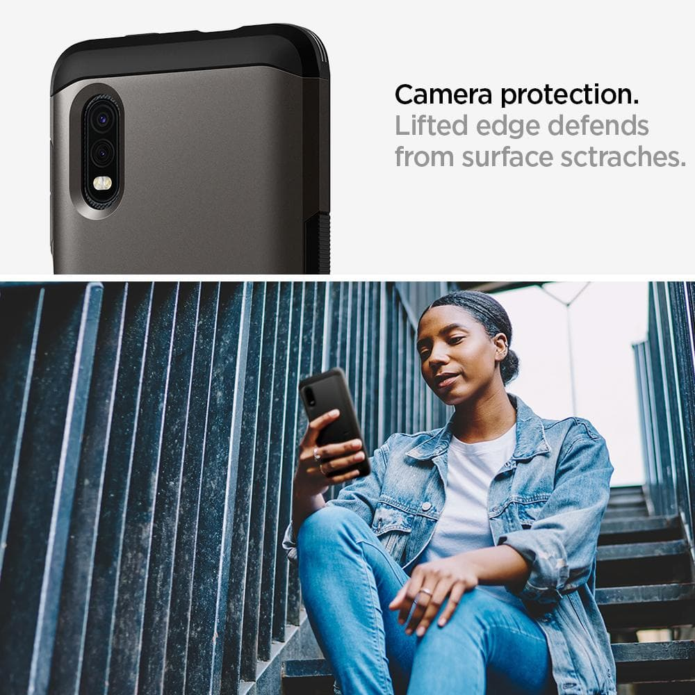 Galaxy XCover Pro Case Tough Armor showing its camera protection. Lifted edge defends from surface scratches