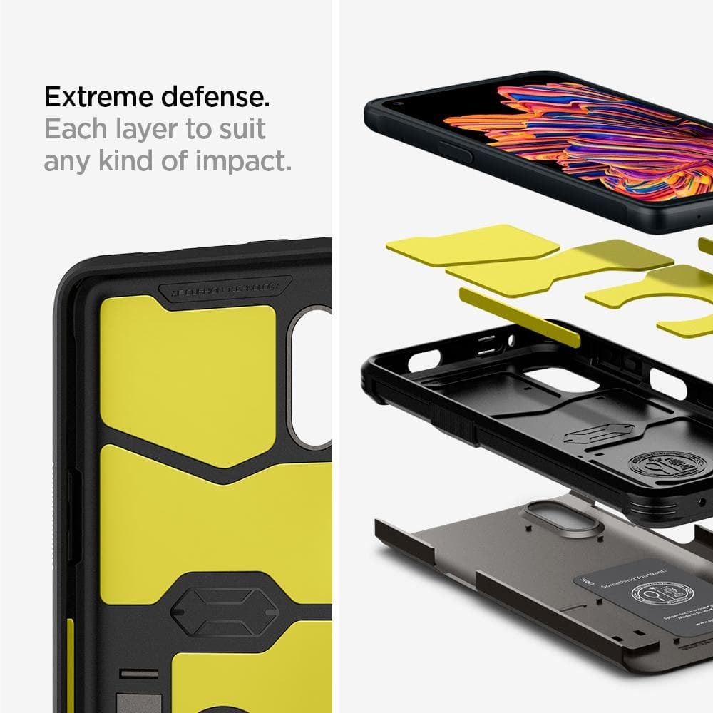 Galaxy XCover Pro Case Tough Armor showing its extreme defense. Each layer to suit any kind of impact.