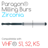 VHF® Paragon Burs for milling Zirconia, Sintec, Glass ceramics, Nano-composite