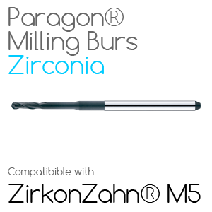 ZirkonZahn® M5 Paragon Burs for milling Zirconia, Glass-Ceramic, Sintec, Nano-Composite