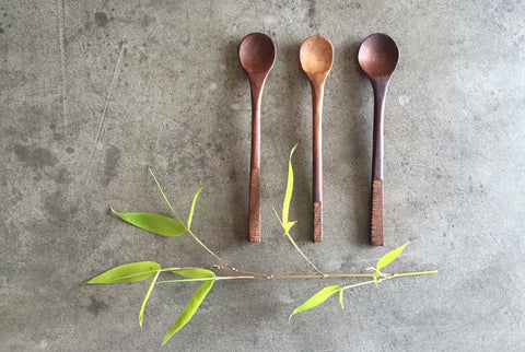 beautifully handcarved wooden dessert spoon, available in walnut or ash wood