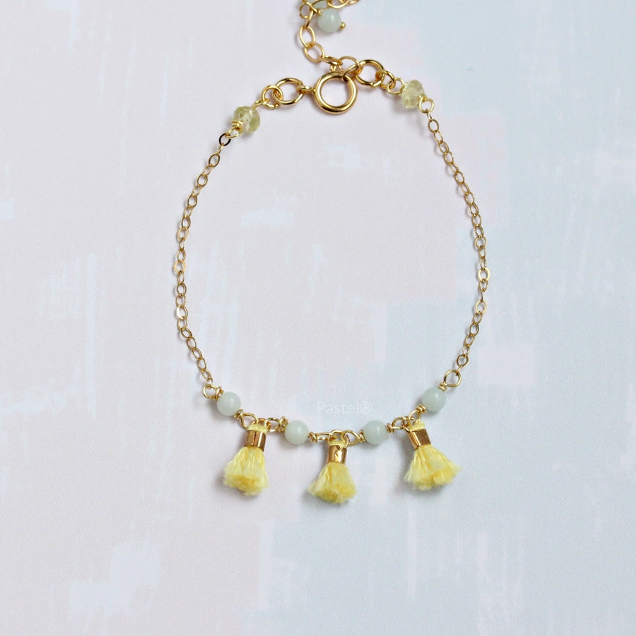 Pastel Yellow Tassel Bracelet with Stones