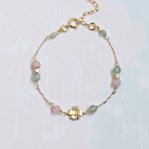 Pastel-Colored Bracelet with Clover Pendant