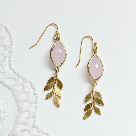 Pink Earrings - Gold Leaf Earrings