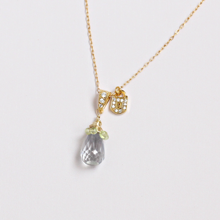 Gemstone Drop Necklace with Lock Charm