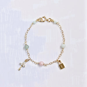 Lock & Key Charm with Gemstone Bracelet