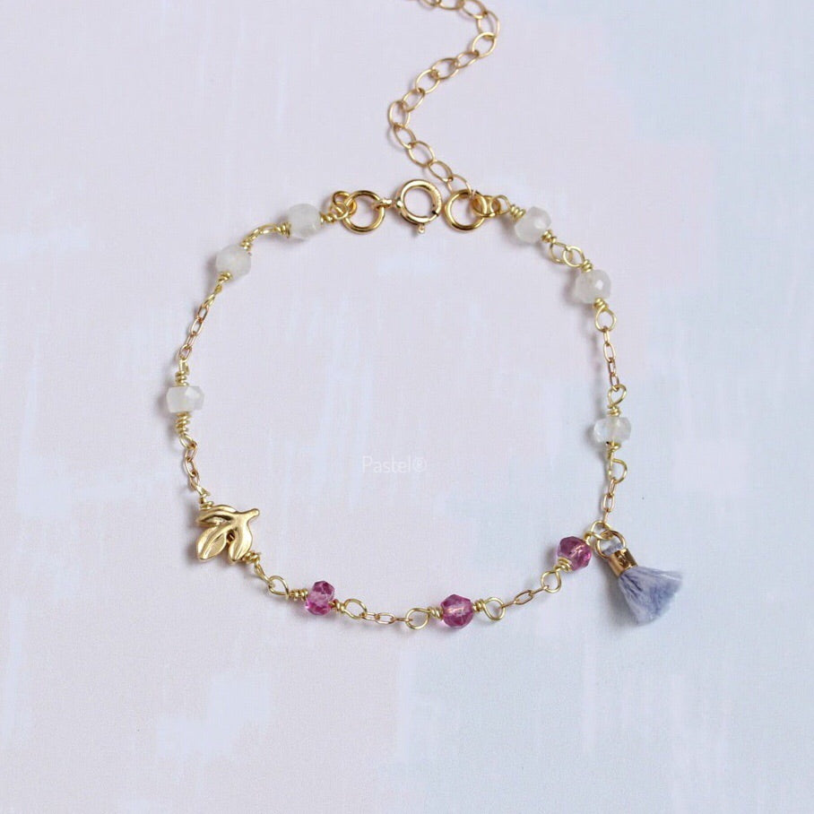 Tassel Bracelet with Pink Stone