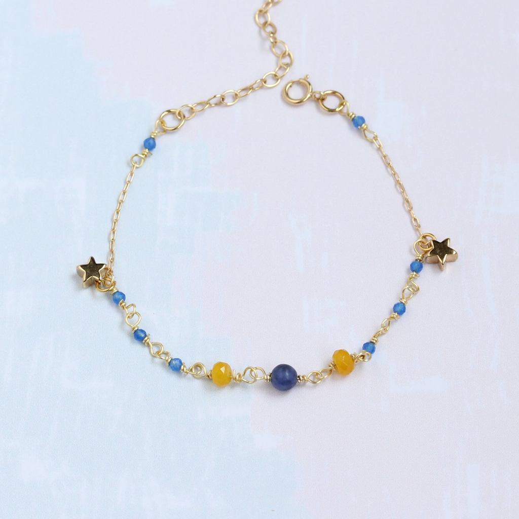 Gold Star Bracelet with Blue & Yellow Stones