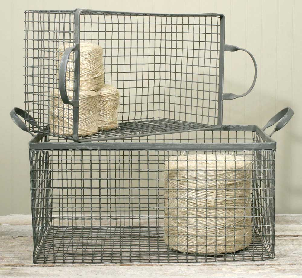 Set of 2 Wire Box Baskets