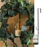 Large Mason Jar Wreath and Candle Holder - Charcoal