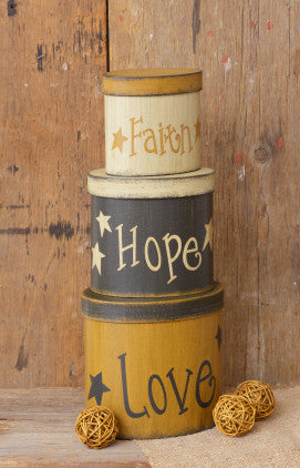 Nesting Boxes Oval-Faith Hope Love