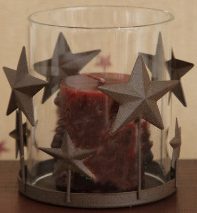 Candle Holder - Brown Star Base - Clear Hurricane