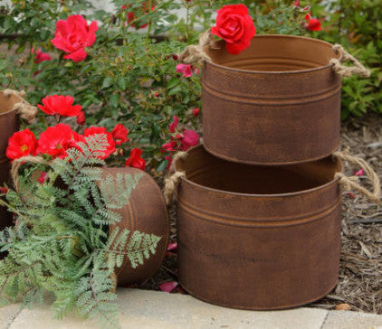 Rusty Buckets With Rope Handles (set of three)