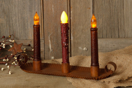 Candle Holder - Rust Fluted Edge Taper