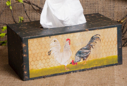 Tissue Box Cover (rectangle) Roosters