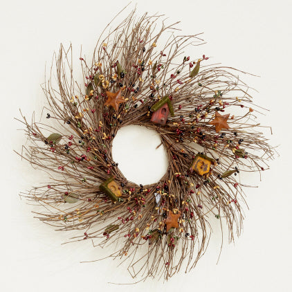 Twig Wreath-Berries, Bird Houses & Stars