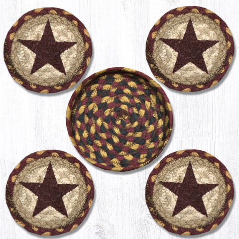 Burgundy Star Coaster Set