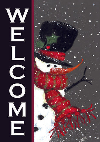 Snowman Welcome Garden Flag (Two-Sided Text)