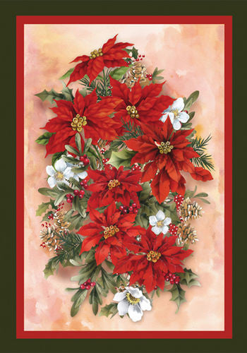 Poinsettia Spray Garden Flag