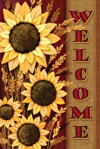 Welcome Sunflowers Garden Flag